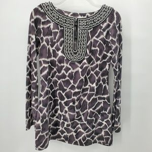 INC charcoal/white giraffe print tunic